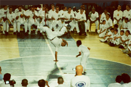 Capoeira game during the batizado ceremony, Santos, Brazil